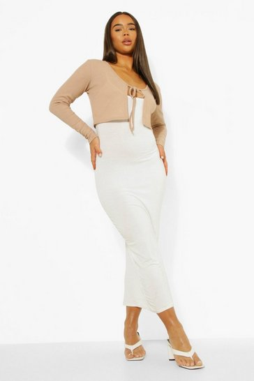 White Rib Tie Cardigan & Midaxi Slip Dress