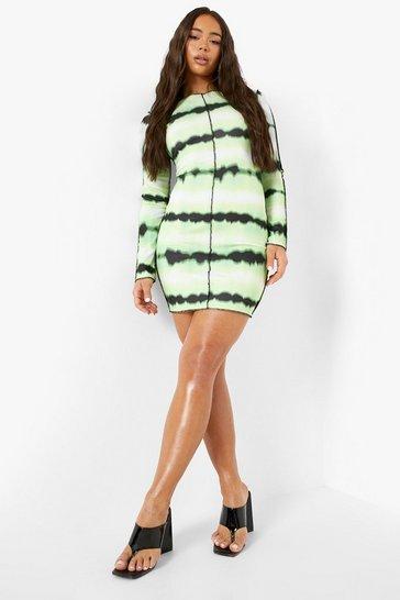 Lime green Tie Dye Long Sleeve Bodycon Mini Dress