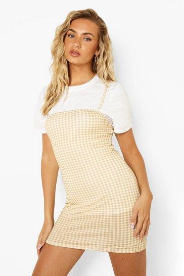 Stone beige Short Sleeve Top & Gingham Slip Mini Dress