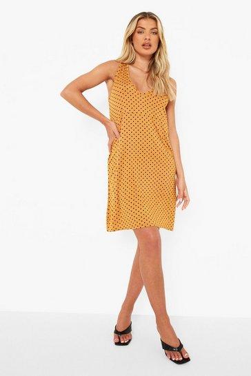 Yellow Short Sleeve Top & Polka Dot Slip Dress