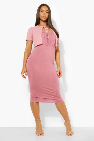 Pink Rib Cardigan & Midi Slip Dress