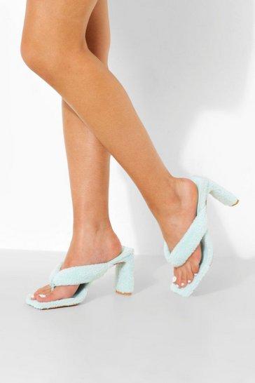 Aqua blue Towelling Toe Post Heel