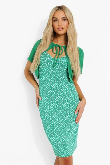 Green Short Sleeve Cardigan & Floral Midi Dress