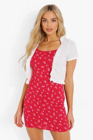 Red Ruffle Rib Cardigan & Floral Mini Slip Dress
