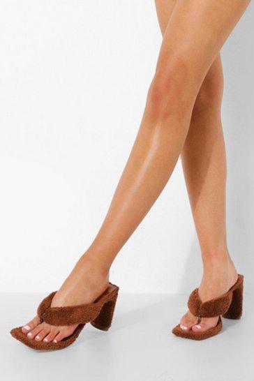 Chocolate brown Towelling Toe Post Heel