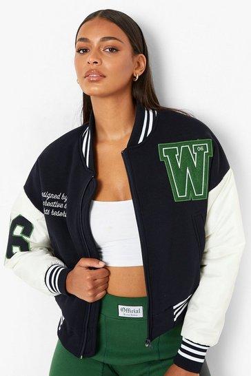 Navy Crop Contrast Sleeve Varsity Jacket