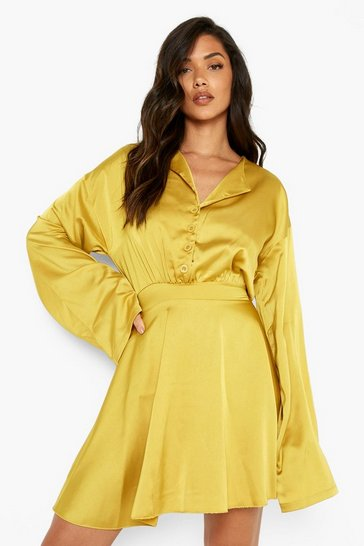 Chartreuse yellow Satin Button Detail Skater Dress