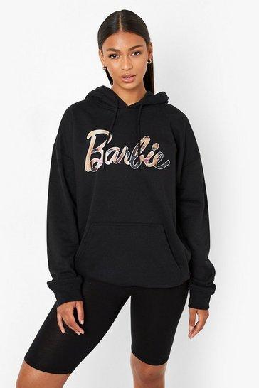 Black Barbie License Print Oversized Hoodie