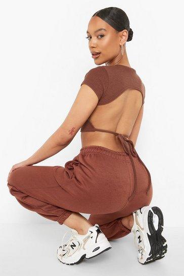 Chocolate brown Brown Rib Backless Tie Crop