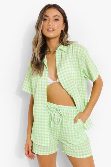 Green Gingham Short Sleeve Shirt & Shorts Set