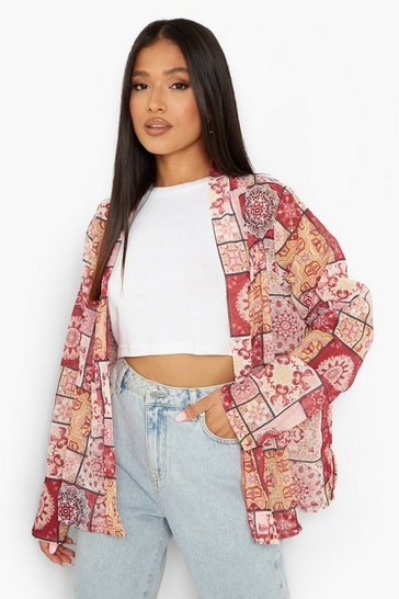 Pink Boho Printed Short Kimono