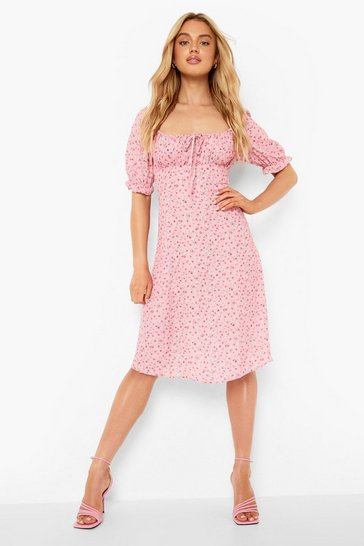 Pink Floral Rouched Bust Puff Sleeve Midi Dress