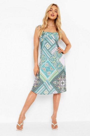 Green Scarf Print Tie Strap Midi Dress