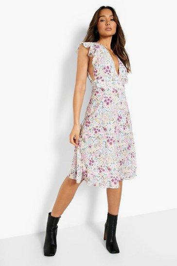 Multi Mixed Floral Wrap Sleeveless Midi Dress