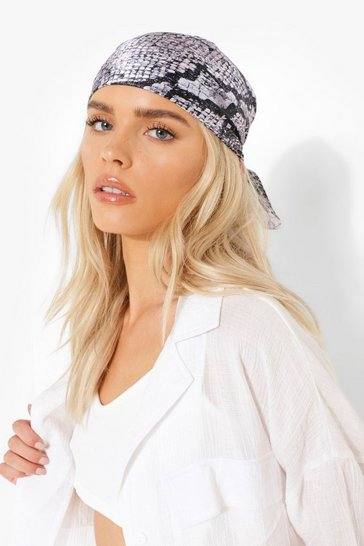 Grey Snake Print Satin 2 Pack Headscarf