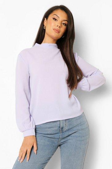 Lilac purple Purple High Neck Long Sleeve Blouse