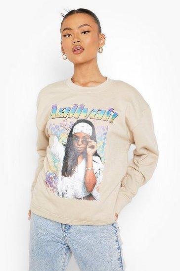 Stone beige Beige Aaliyah License Print Oversized Sweatshirt