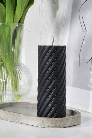 Black Ribbed Swirl Circular Pillar Candle