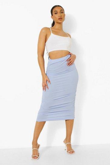 Blue Ruched Rib Midi Skirt