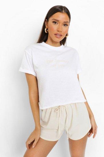 White Summer Of Love Crop Tshirt