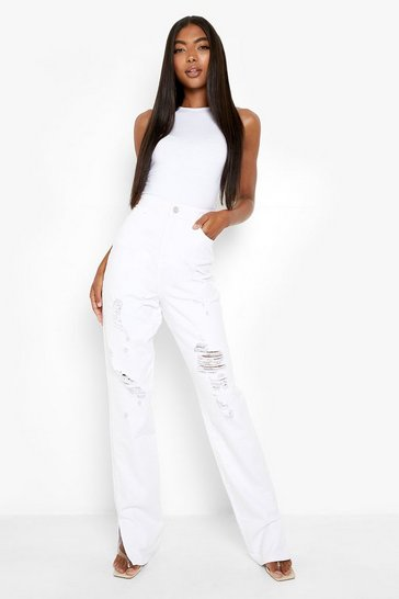 White Tall High Waist Distressed Split Hem Jeans
