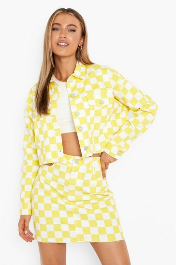 Yellow Gingham Denim Cut Out Skirt - Samples