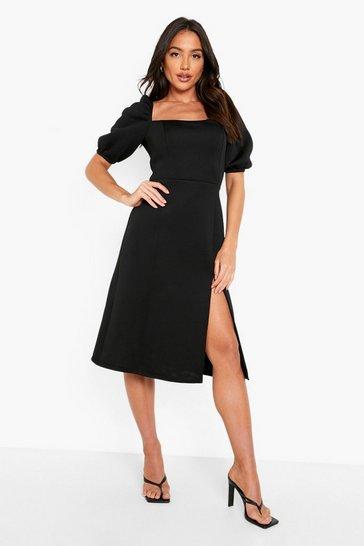 Black Puff Sleeve Square Neck Midi Dress