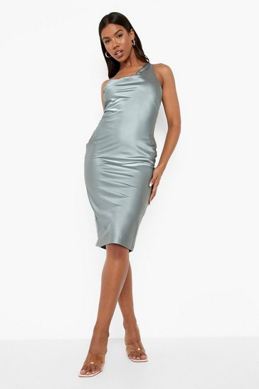 Grey One Shoulder Strap Detail Midi Dress