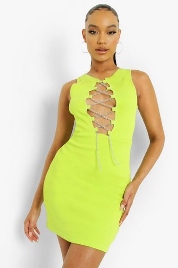 Lime green Chain Lace Up Detail Mini Dress