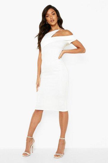 White Strappy One Shoulder Midi Dress