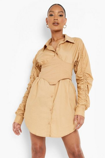 Stone beige Corset Detail Ruched Sleeve Mini Dress
