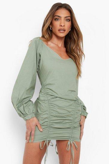 Khaki Cold Shoulder Puff Sleeve Ruched Dress