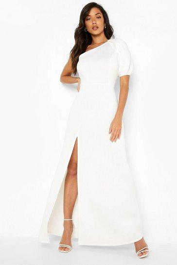 White One Shoulder Puff Sleeve Maxi Dress