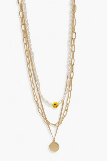 Gold metallic Layered Happy Face Pearl Chain Necklace