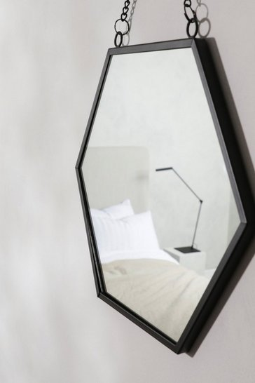 Jet Black Hexagon Mirror