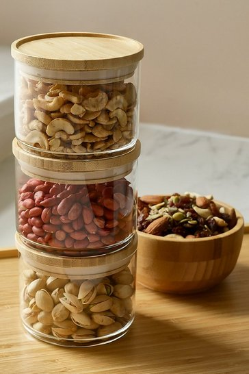 Clear Stacking Glass Storage Jars - Set Of 3
