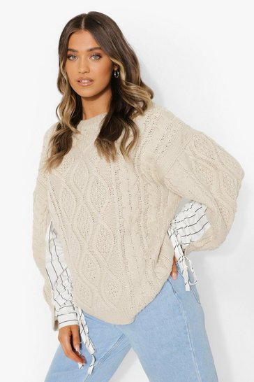 Stone beige Cable Knit Jumper With Shirt Sleeve Detail