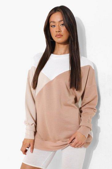 Stone beige Tall Tonal Colour Block Sweatshirt