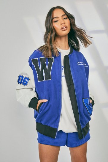 Cobalt blue Faux Leather Sleeve Varsity Jacket