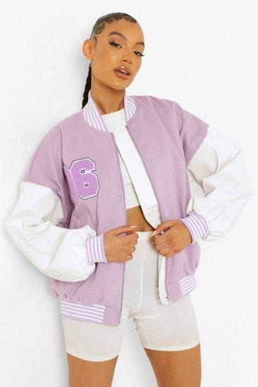 Lilac purple Faux Leather Sleeve Varsity Jacket