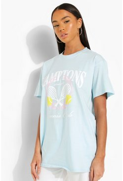 Baby blue blue Hamptons Tennis Printed Oversized T-shirt