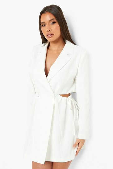 Ivory white Ruched Tie Side Tailored Blazer Dress