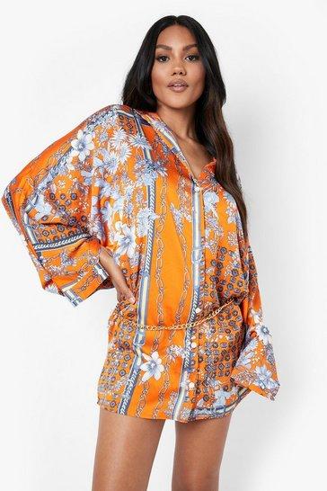 Orange Floral Print Chain Belted Shirt Dress