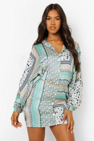 Blue Scarf Print Chain Belt Shirt Dress