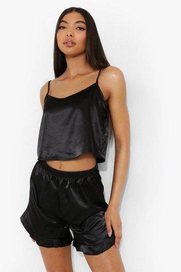 Black Tall Satin Crop Vest And Pyjama Short Set