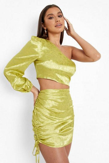 Chartreuse yellow Jacquard Satin Ruched Side Mini Skirt