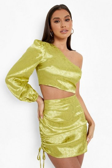 Chartreuse yellow Yellow Jacquard Satin One Shoulder Crop Top