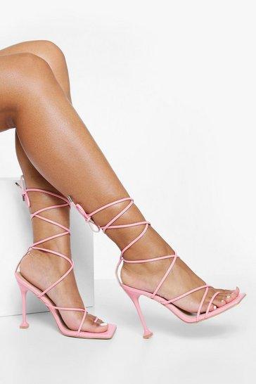 Pink Square Toe Wrap Up Sandal