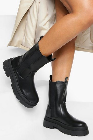 Black Wide Fit Chunky High Ankle Chelsea Boot