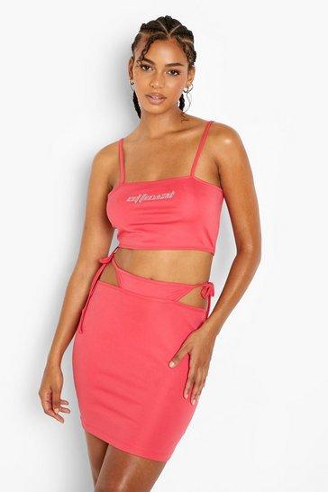 Pink Diamante Detail Strappy Mini Skirt